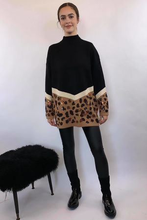 Black Chevron Leopard Knit