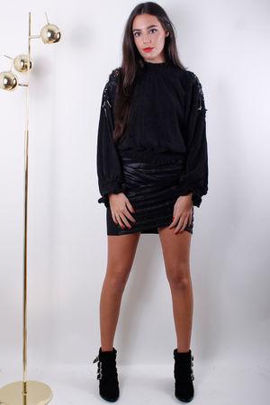 Black Embellished Appliqué Blouson