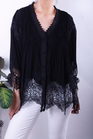 Black Lace Button Down Top