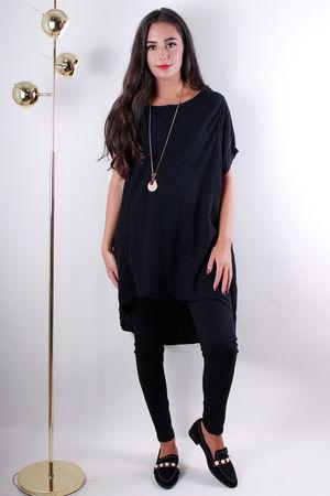 Black Linen & Jersey Tunic