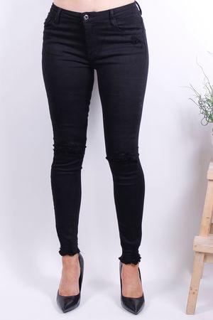 Black Stretch Ankle Cut Off Jean