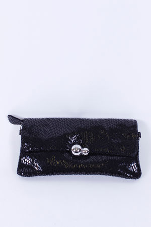 Malissa J Leather Double Ball Clutch Black