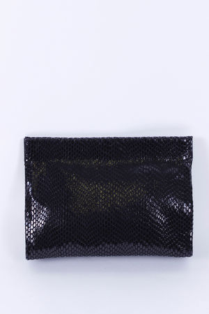 Malissa J Leather Magnet Clutch Black