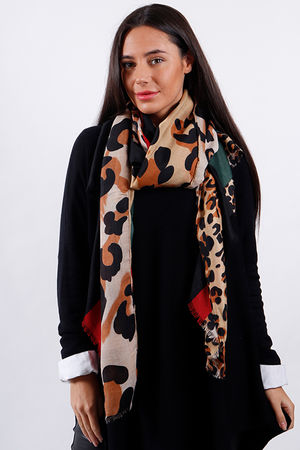 Block Leopard Scarf Burgundy and Green