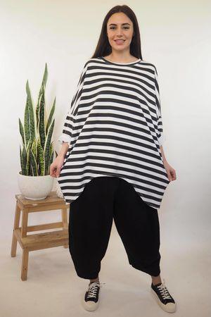 Block Stripe Archie Sweat Black & White