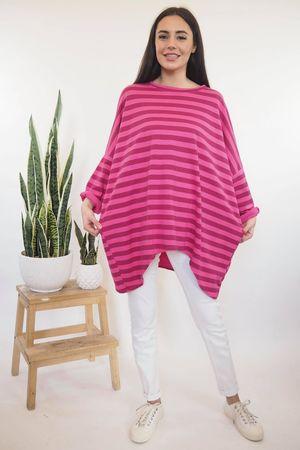 Block Stripe Archie Sweat Hot Pink