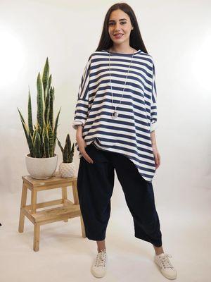 Block Stripe Archie Sweat Navy & White
