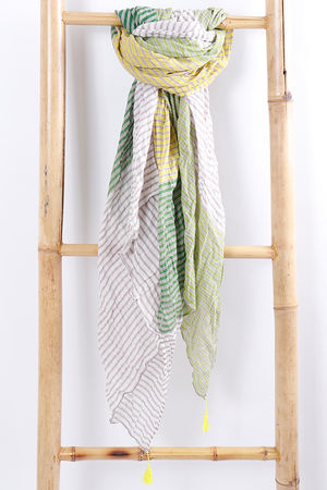 Block Stripe Scarf Green
