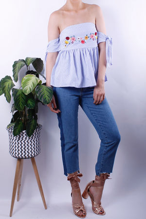 Blue Stripe Embroidered Bardot Tie Top