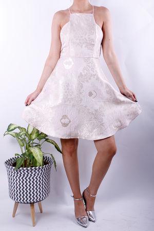 Blush Metallic Textured Dress