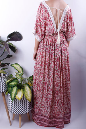 Boho Isabel Floral V Lace Maxi Dress Raspberry