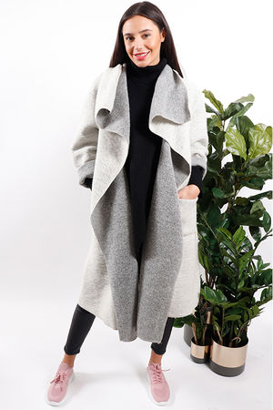 Made In Italy Boiled Wool Blanket Coat Ice
