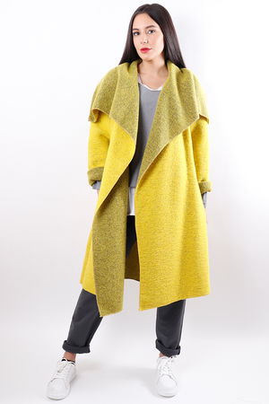 Boiled Wool Blanket Coat Sulphur