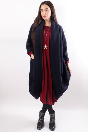Boiled Wool Cocoon Coatigan Navy