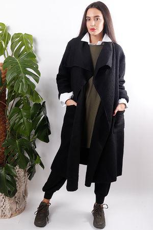 Boiled Wool Duster Coat Black
