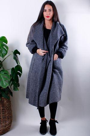 Boiled Wool Duster Coat Grey