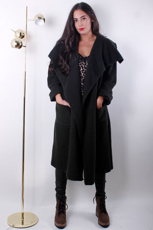Boiled Wool Duster Coat Khaki