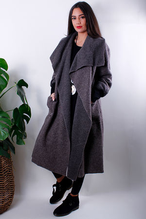 Boiled Wool Duster Coat Mocha