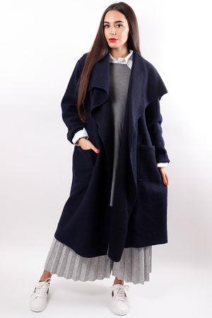 Boiled Wool Duster Coat Navy