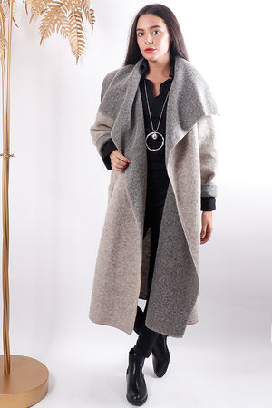 Boiled Wool Duster Coat Oat