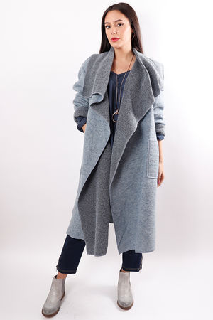 Boiled Wool Duster Coat Powder