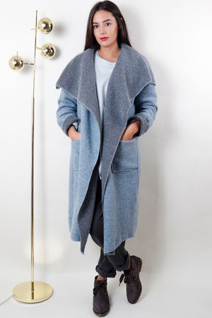 Boiled Wool Duster Coat Powder Blue