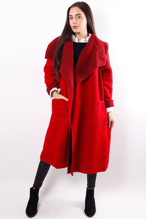 Boiled Wool Duster Coat Red