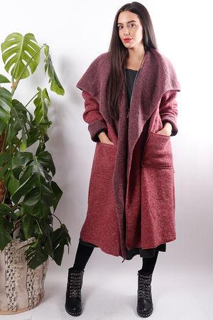Boiled Wool Duster Coat Rose