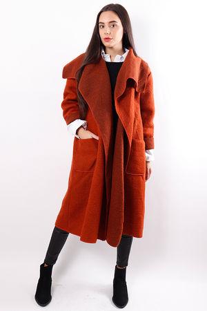 Boiled Wool Duster Coat Rust