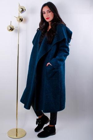 Boiled Wool Duster Coat Teal