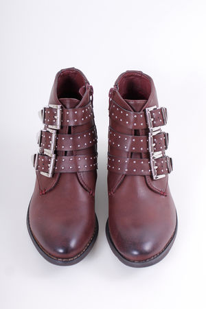 Bordeaux Stud Ankle Boots