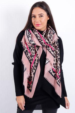Border Leopard Scarf Pink
