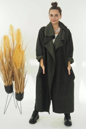 Boucle Blanket Coat Khaki