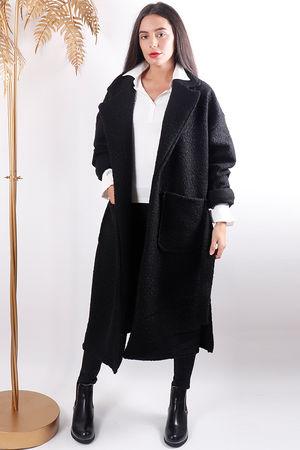 Boucle Belted Coat Black