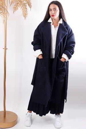 Boucle Belted Coat Navy