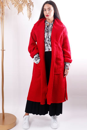 Boucle Belted Coat Red