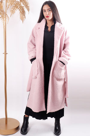 Boucle Belted Coat Sugar Pink