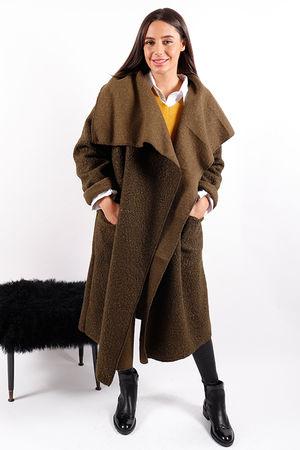 Made In Italy Boucle Blanket Coat Khaki
