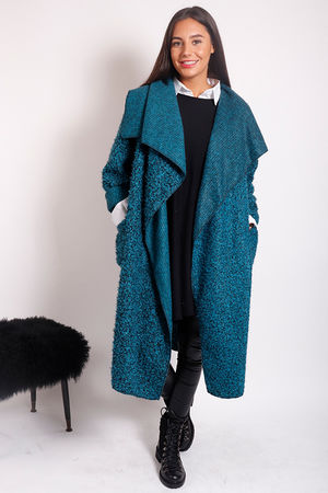 Boucle Blanket Coat Peacock