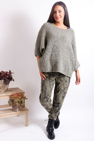 Boucle Slouch Knit Khaki