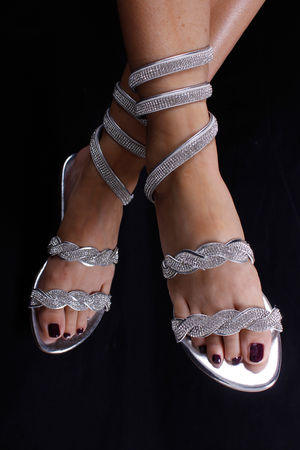 Braid Diamanté Wrap Sandals