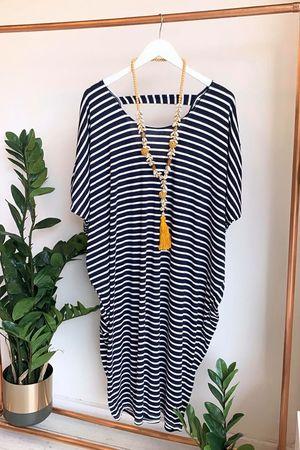 Breton Stripe Tulip Dress Navy