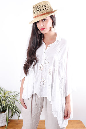 Broderie Anglaise Dip Side Blouse
