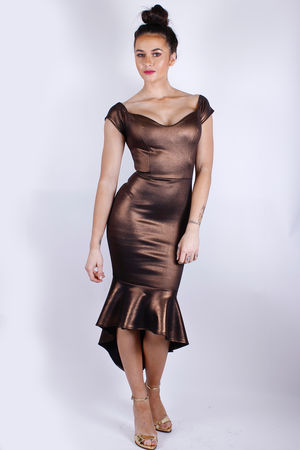 Bronze Fish Tale Bardot Dress