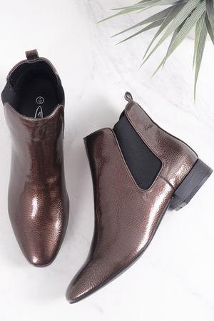 Bronze Patent Chelsea Boot