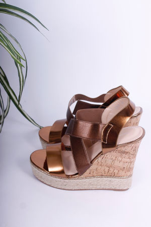 Bronze Strap Cork Espadrille Wedges