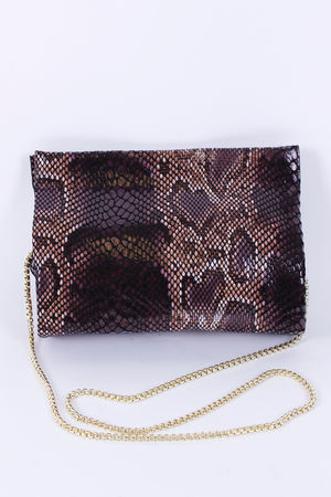 Malissa J Leather Magnet Clutch Dark Skin