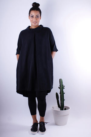 Brushed Silk Cowl Tunic Black