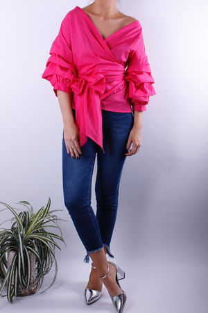 Bubblegum Cross Over Wrap Blouse