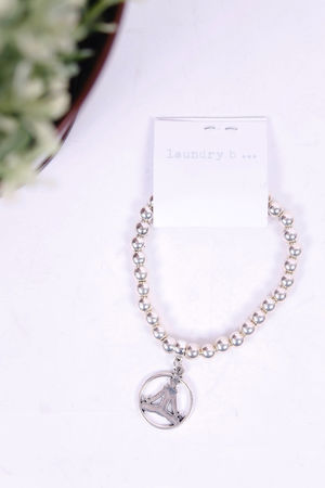 Budda Pendant Beaded Bracelet Silver